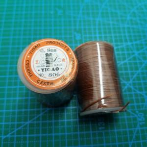 806 Нитки вощеные толщина 0,8 мм круглая, светло коричневая.