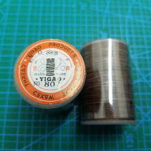 807 Нитки вощеные толщина 0,8 мм тёмно коричневый, круглая.
