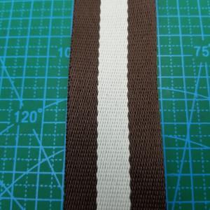 38 мм Стропа коричневая с белой полосой.