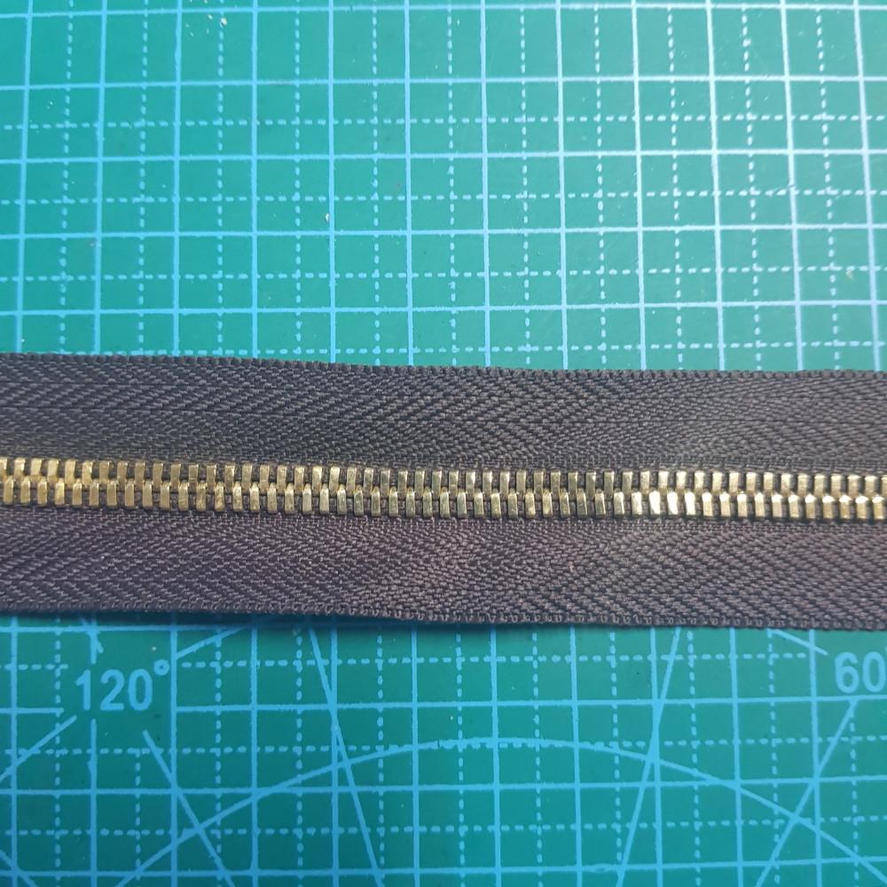 Молния металлическая №5 цвет ткани  302 зуб золото.